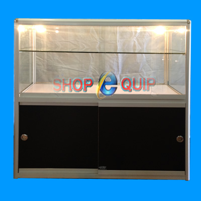 No3 -2 Tier Aluminum Frame Glass Counter Cabinets Round Corner